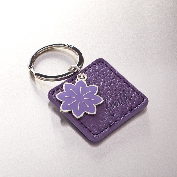 Purple Bible Verse Leather Key Ring -Matthew 19:26