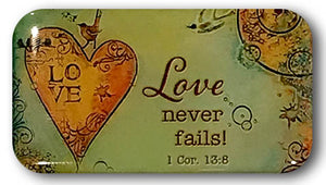 "1  Corinthians 13:8 Refrigerator Magnet ""Love Never Fails"" - Rectangle"