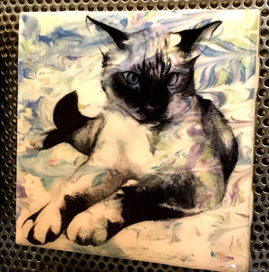 """Mocha the Siamese Cat"" Tile Coaster/Magnet by Chigri"