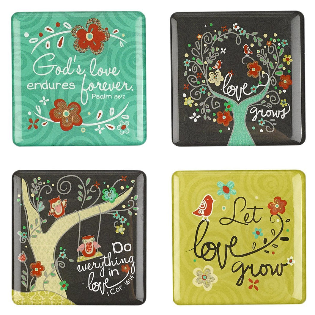 Love Grows Refrigerator Magnet Set - 4 pack