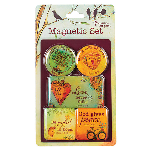 Peaceful Thoughts Refrigerator Magnet Set - 5 pack