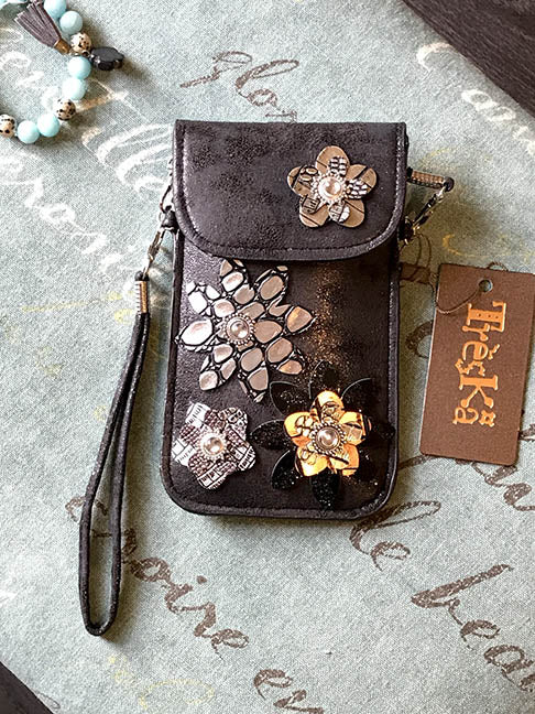 Micro Bag - Black with Flowers
