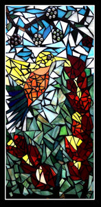 """Hummingbird in Garden""- Mosaic Tiles on Wood"