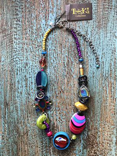 Bead & Loop Chain Necklace - Rainbow Series by Treska