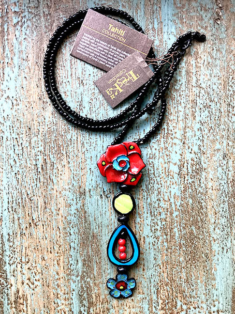 Bue & Red Flowers Necklace Tahiti Series by Treska