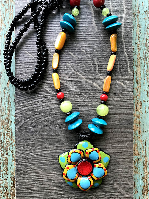 Bue Green & Red Flowers Necklace Tahiti Series by Treska