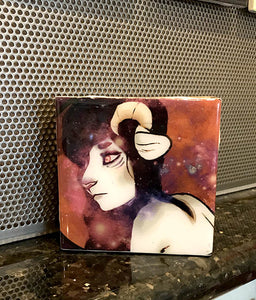 """Cat with Horns"""" Tile Wall Art by Chigri"