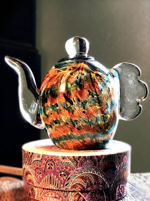 Dale Tiffany Glass Tea Pot Sculpture - Green & Orange Accents