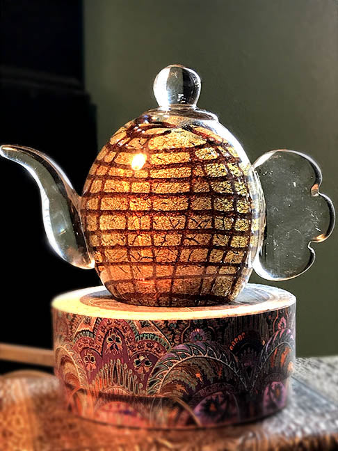 Dale Tiffany Glass Tea Pot Sculpture - Bronze & Brown Accents