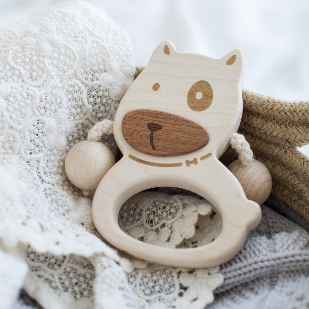 wooden-joy - Puppy Baby Rattle - Baby toys