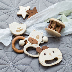Baby Rattle made of solid wood and no paint for babies 6 months plus