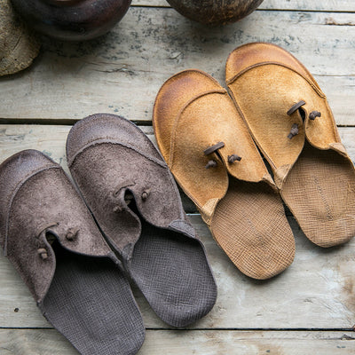 Handmade retro round head leather slippers