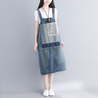 Sleeveless Summer long Dresses ,Women's cotton dresses, with pockets dress, denim dresses -  IDETSNKF