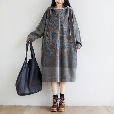 Hooded cotton Dress, retro print long dress, large size dress, dress for women, robe, Kaftan -  IDETSNKF