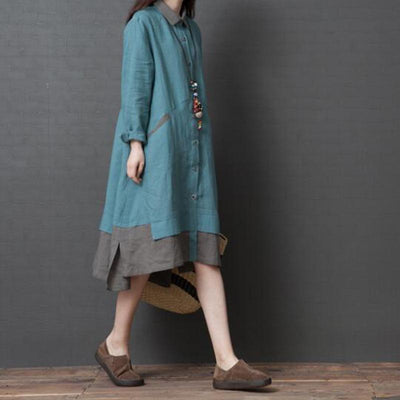 Cotton linen long sleeve Dress, shirt dress, large size dress, asymmetric dress, Loose Kaftan -  IDETSNKF