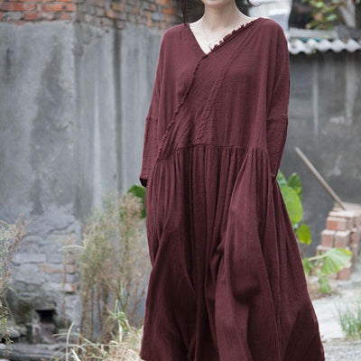 Maroon Cotton linen dress, V-neck dress, loose dress, long dress, Women Gown -  IDETSNKF
