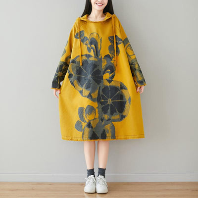 Hoodie long Dress, loose dress, cotton dress, women's long Sleeves dress, plus size clothing -  IDETSNKF