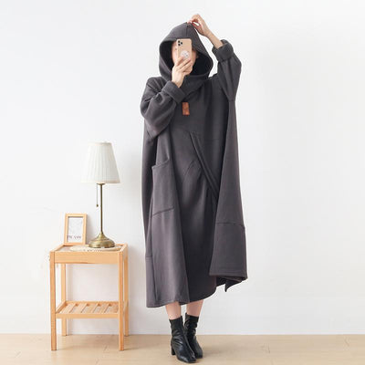 Women Hoodie Dress, long sleeves dress, Oversized loose fitting, Minimalist cotton Dress, Plus Size cotton Dress -  IDETSNKF