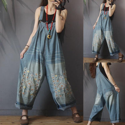Women long pants, Denim overalls, Casual Cotton Jumpsuits, long pants, plus size Wide leg pants -  IDETSNKF