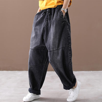 Retro jeans casual trousers, elastic waist pants, Harlan jeans, wide leg pants women -  IDETSNKF