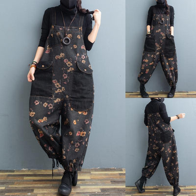 Womens Floral Denim Bib, Loose Fitting Cotton Ripped Jeans With Pockets, Casual Pants, Overalls For Women -  IDETSNKF
