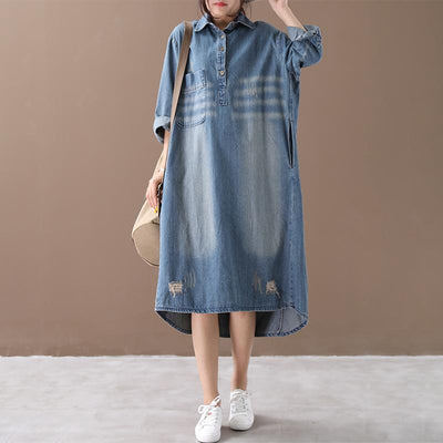 Cotton dress, Women comfortable denim dress,oversized denim dress, plus size clothing -  IDETSNKF