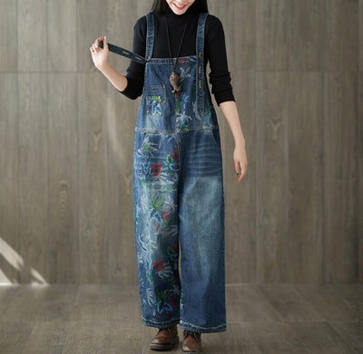Dark blue denim long pants, Womens Jeans Overalls, Loose Pants, Casual Pants, Wide leg overalls -  IDETSNKF