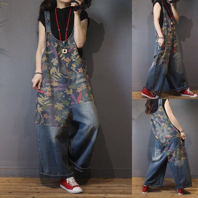Vintage jeans, Women Denim overalls, printing long pants, Loose pants, Plus size casual pants -  IDETSNKF