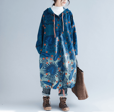 Cotton Coat For Women, dark blue large size windbreaker, loose hooded coat, printed long coat -  IDETSNKF
