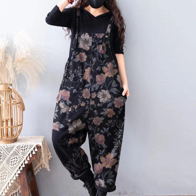 Womens Printed Floral denim overalls, Loose Fitting Cotton Jeans, Womans Casual Pants, Loose Pants For Women -  IDETSNKF