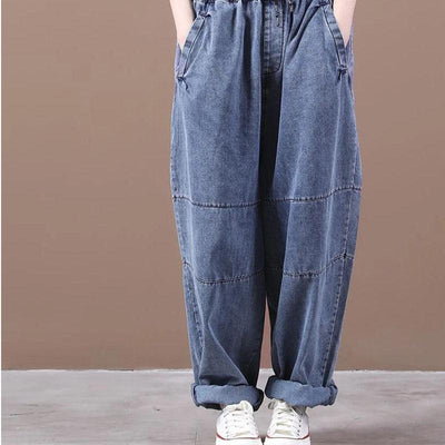 Womens Loose Fitting jeans, casual trousers, elastic waist pants, harem jeans, wide-leg pants -  IDETSNKF