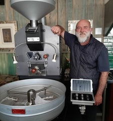 Owner of MeerCup Roastery Gert Kotze and Genio roasters