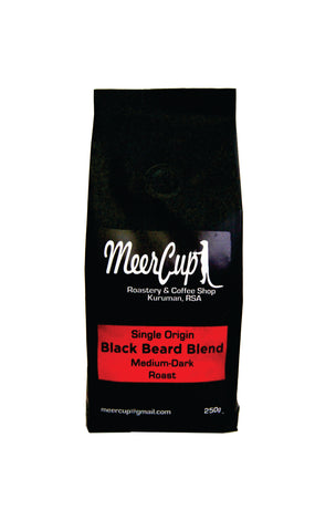 MeerCup roastery Black Beard Blend medium dark roast 250grams red label