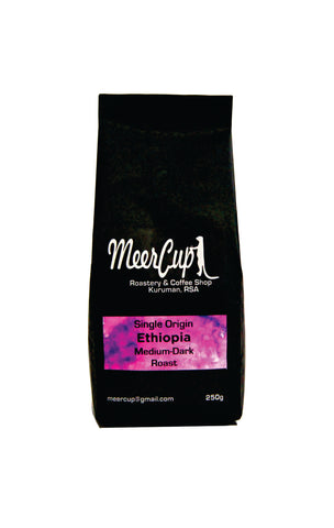 MeerCup roastery single origin Ethiopia coffee beans medium dark roast 250grams purple label