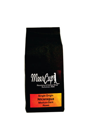 MeerCup Roastery Single origin Nicaragua roasted coffee beans 250grams orange label