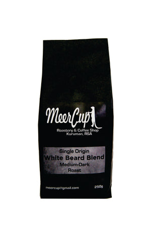 White beard blend medium-dark roast by MeerCup roastery. 250grams grey label
