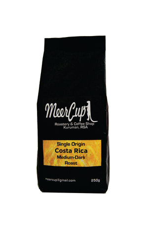 MeerCup Roastery Single origin Costa Rica roasted coffee beans yellow label