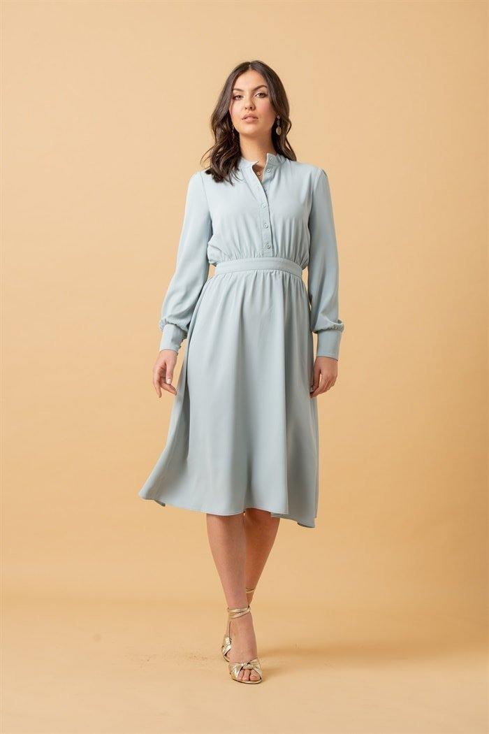 Long Sleeve Button Up Dress in Mint - Liena