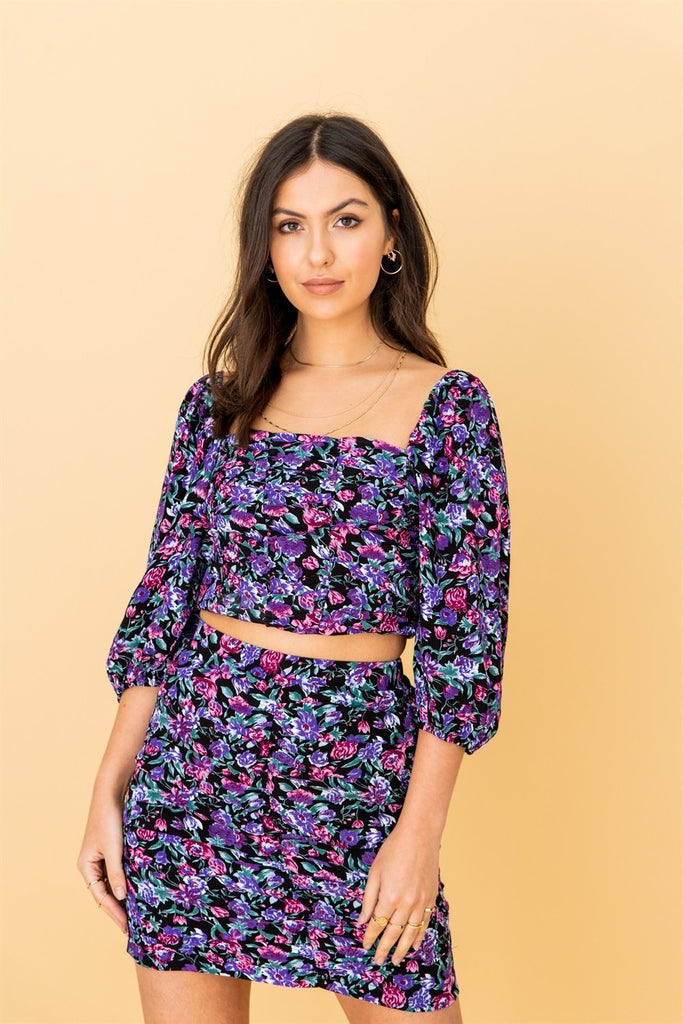 Purple Floral Square Neck Top and Skirt (Co-ord Set) - Liena