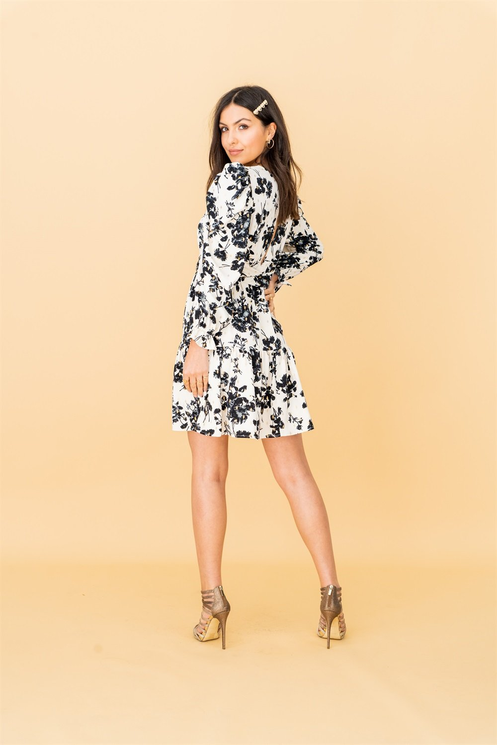 Puff Sleeve Cream Floral Mini Dress