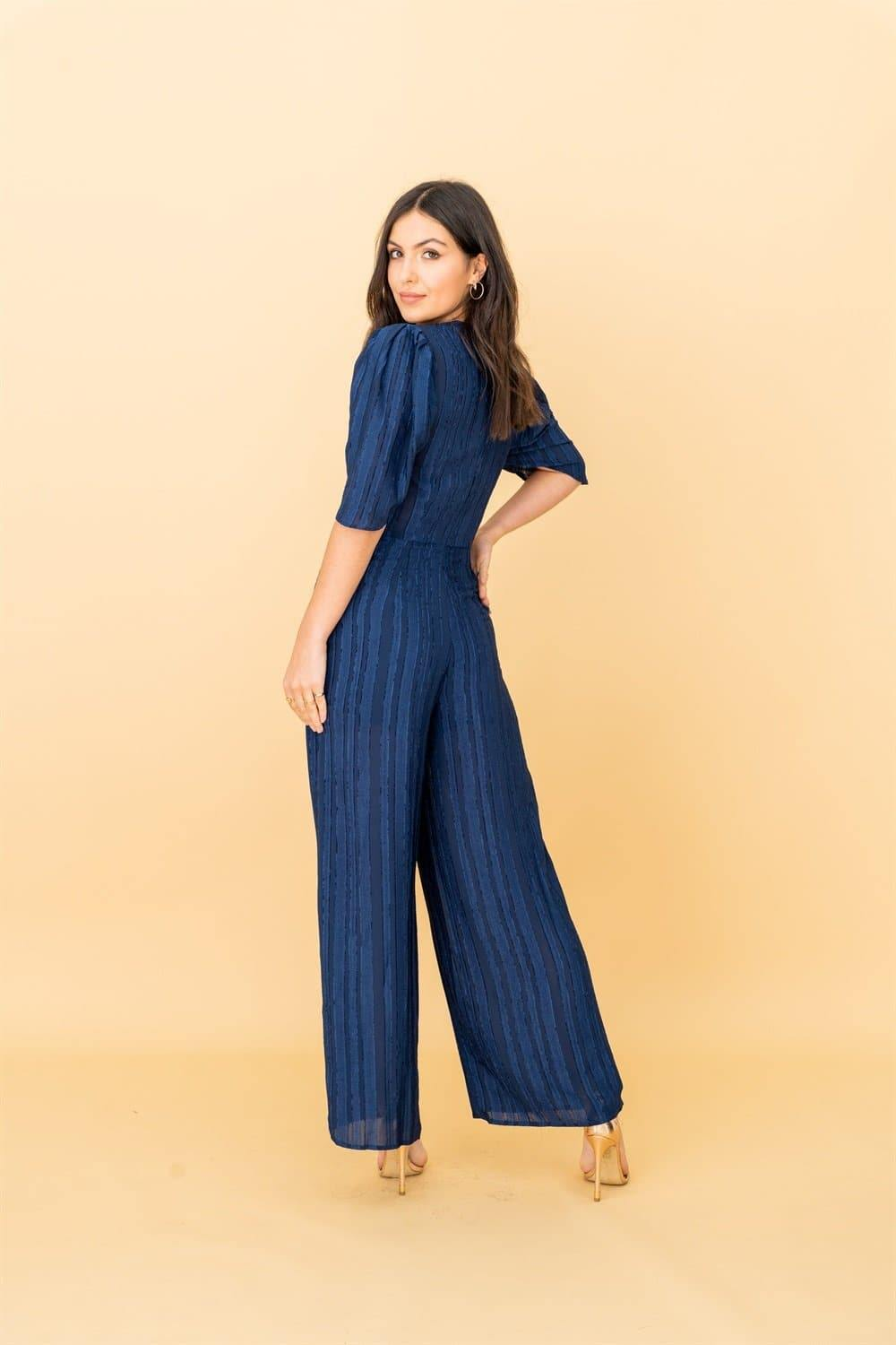 V-neck Plunge Jumpsuit in Navy Ruffle - Liena