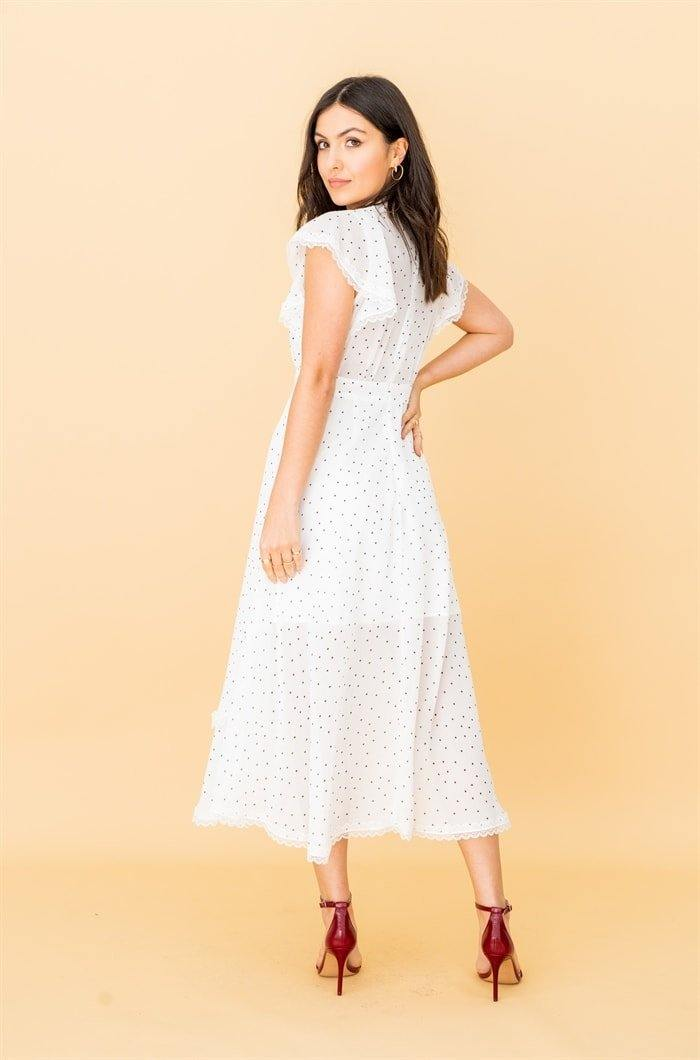 High Neck Lace Trim Midi Dress in White Polkadot - Liena