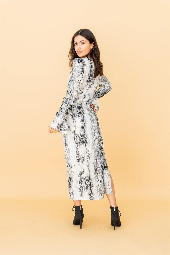V-wrap Midi Dress in Grey Snakeskin Print - Liena