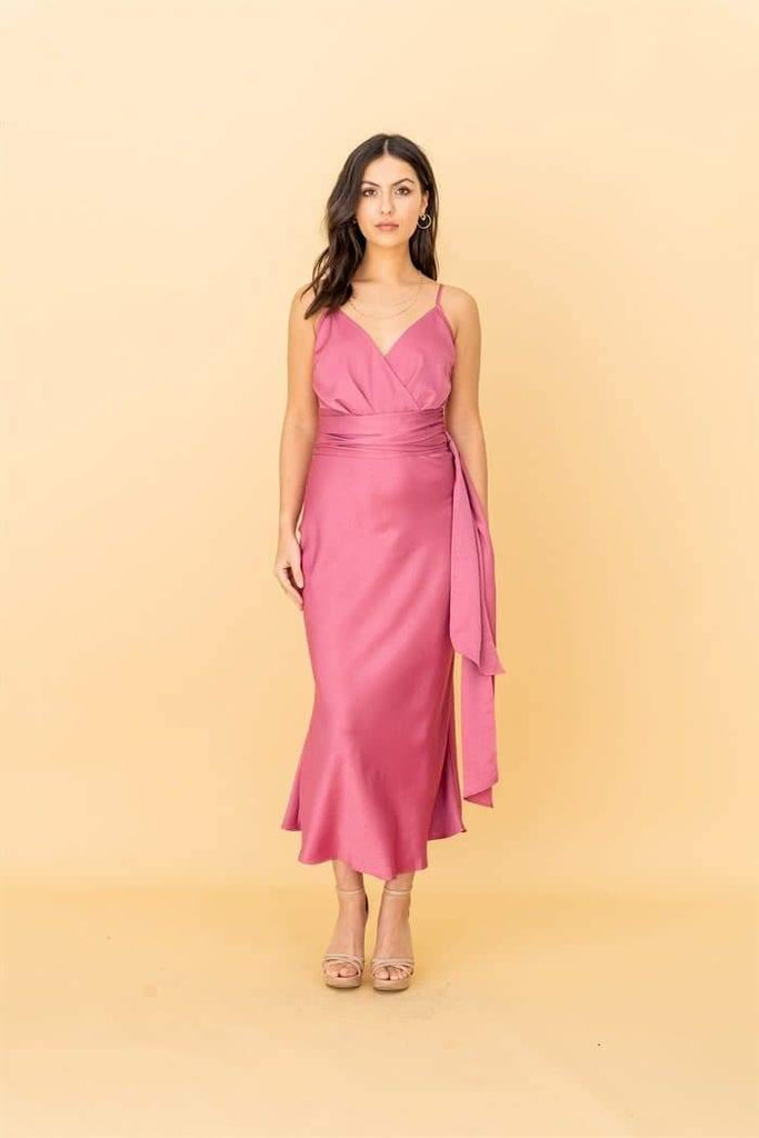Cami Wrap Tie Midi Dress in Rose Pink - Liena