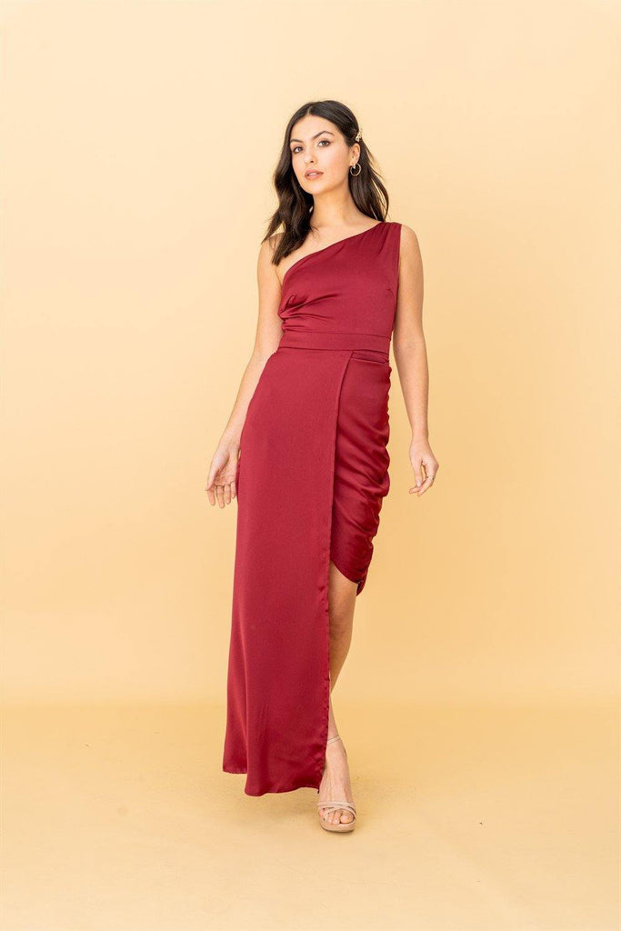 The Garner, One Shoulder Dress with Side Gather Detail in Burgundy - Liena