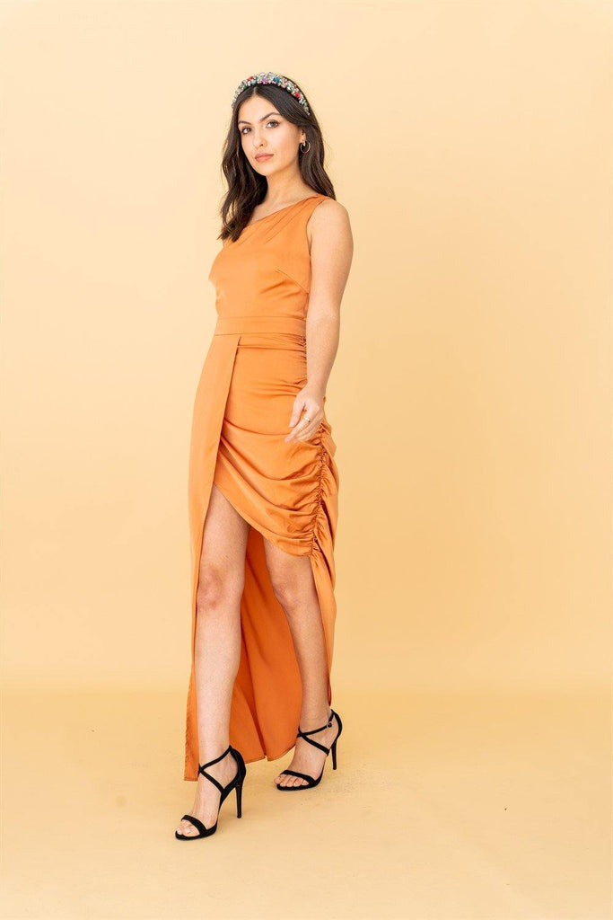 The Garner, One Shoulder Dress with Side Gather Detail in Orange - Liena