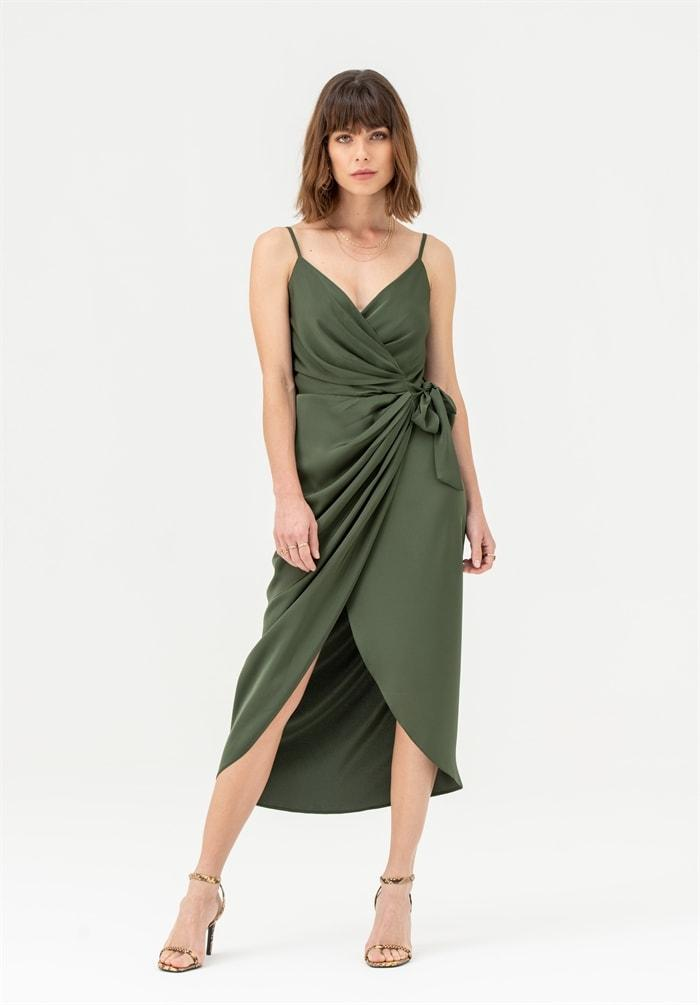Tie Side Cami Wrap Dress in Khaki - Liena