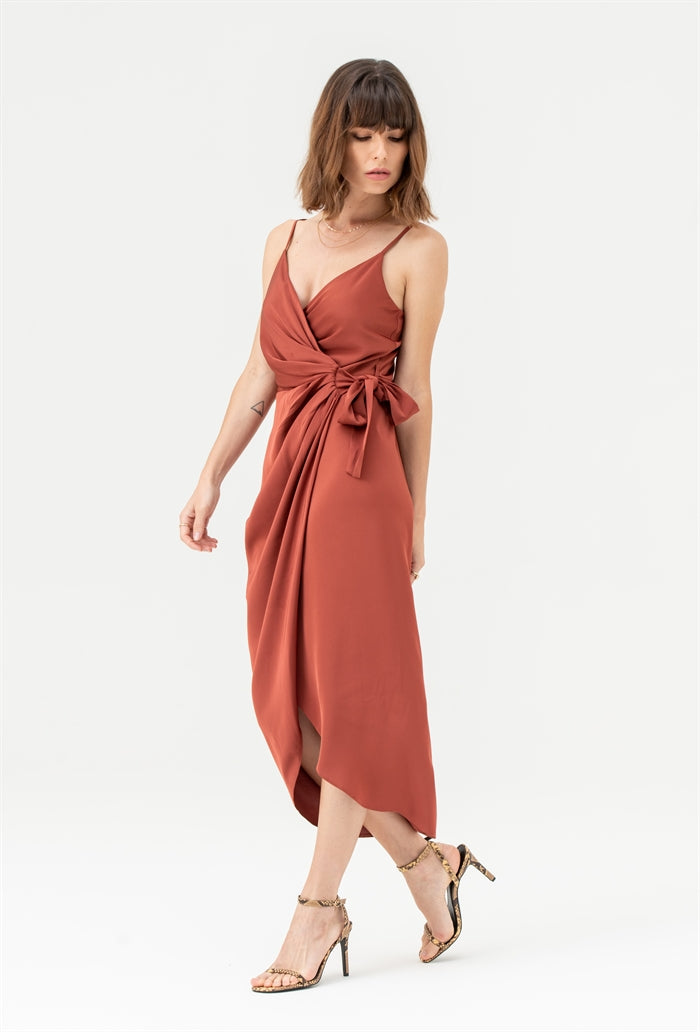 Tie Side Cami Wrap Dress in Rust