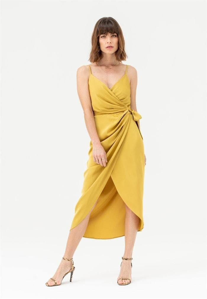 Tie Side Cami Wrap Dress in Mustard - Liena