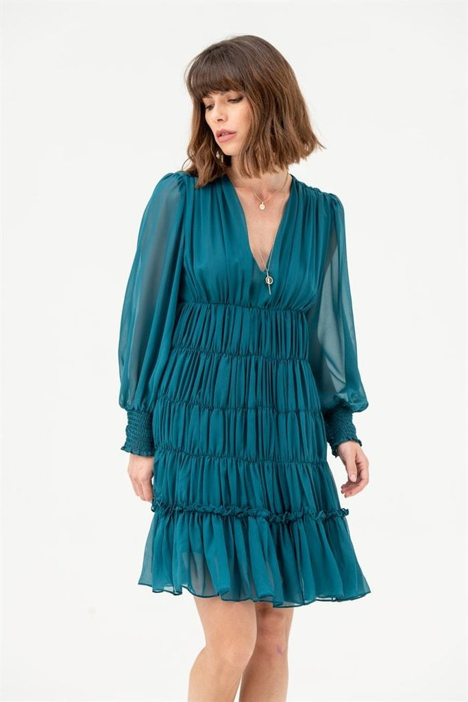 Long Sleeve Gathered V Neck Midi Dress in Teal - Liena